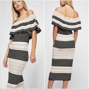 NWT Free People Ruffle Off the Shoulder Knit Dress